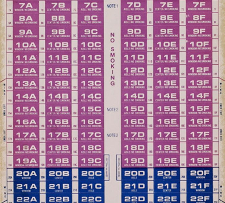 1982 Northwest Orient Seating Chart 1