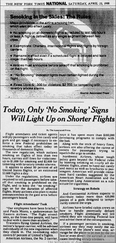 1988 04 23 NY Times Only No Smoking Signs on Shorter Flights 1
