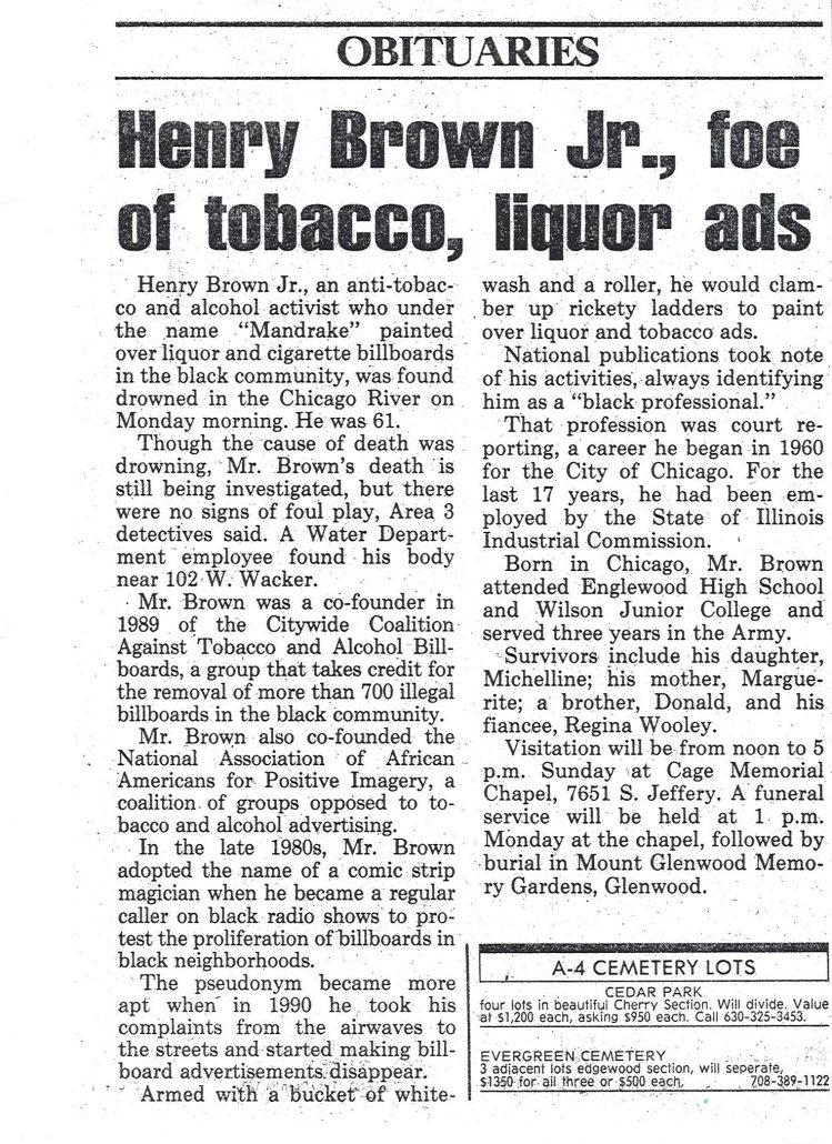 1996 09 28 Chicago Sun Times Mandrake Brown Obituary