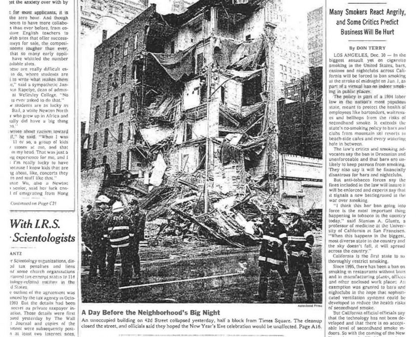 1997 12 31 NY Times Californias Ban to Clear Smoke Inside Bars 1