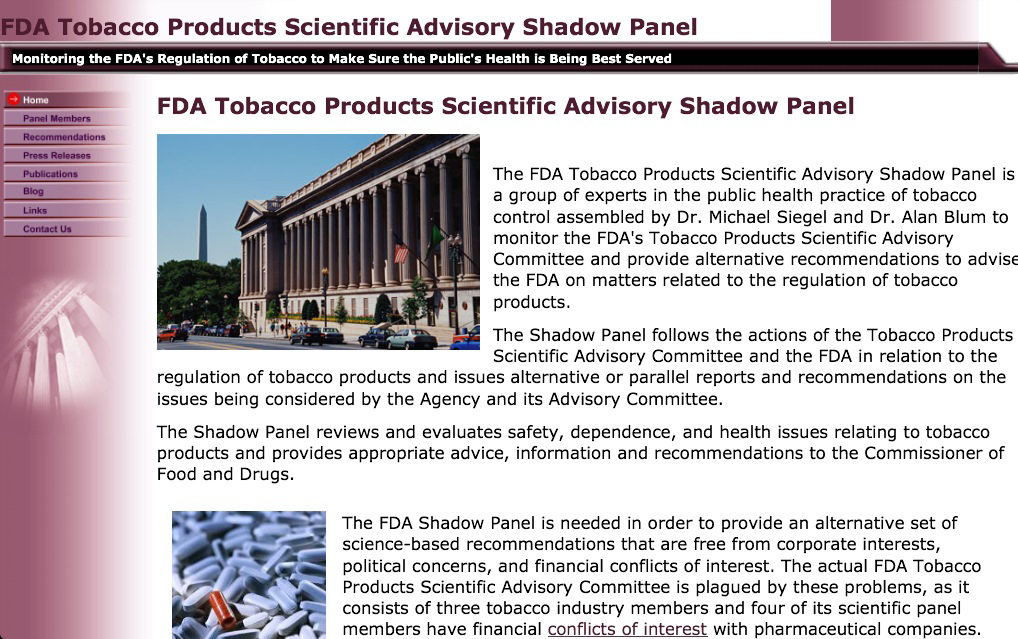 2014 FDA Shadow Panel Website Screenshot