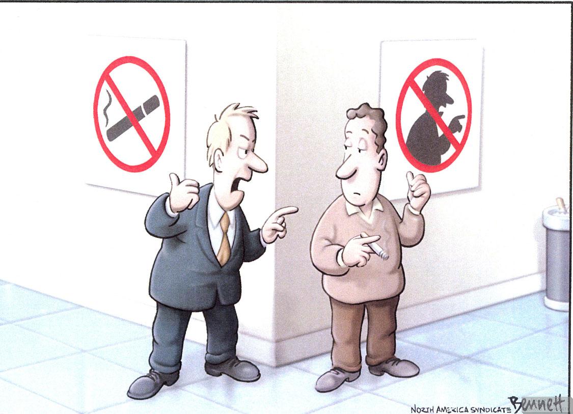 Bennett Cartoon No Smoking or Finger Wagging 1