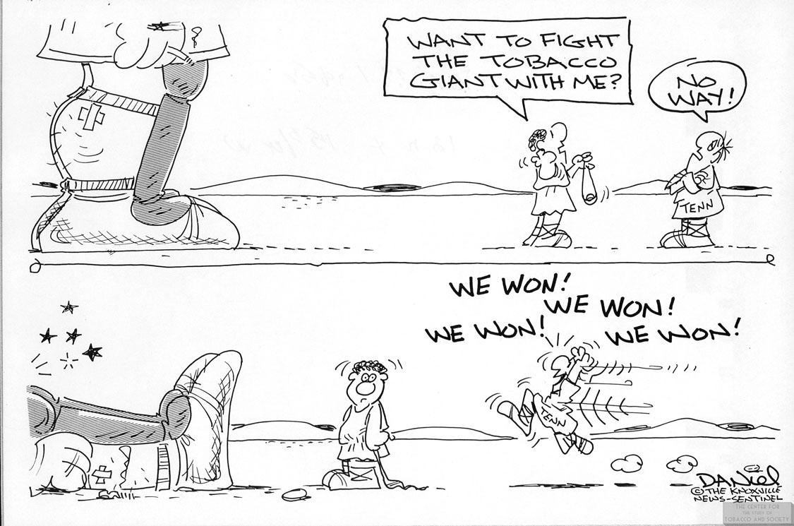 Daniel Cartoon Fight the Tobacco Giant 1