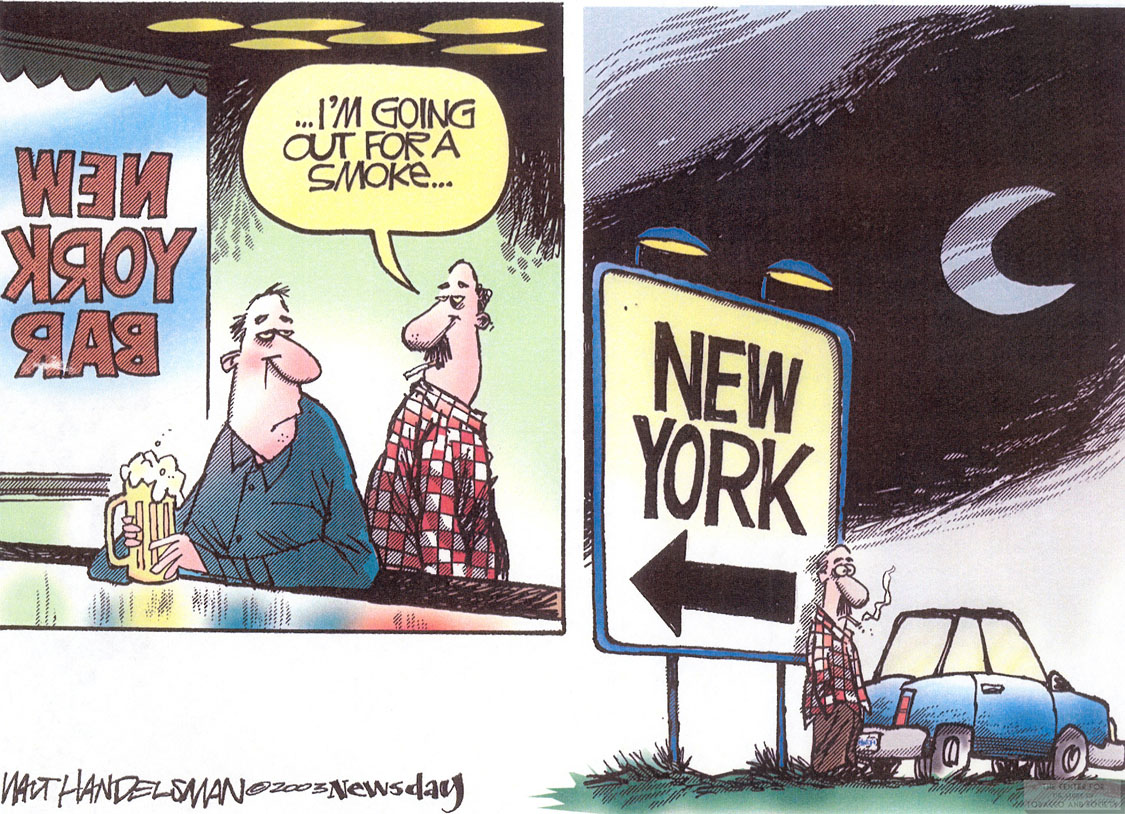 Handelsman Cartoon Out for a Smoke in NY 1