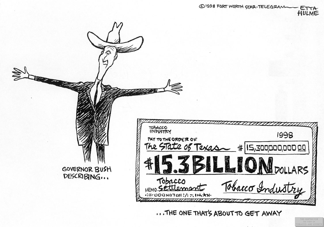 Hulme Cartoon Gov. Bush Tobacco Settlement 1