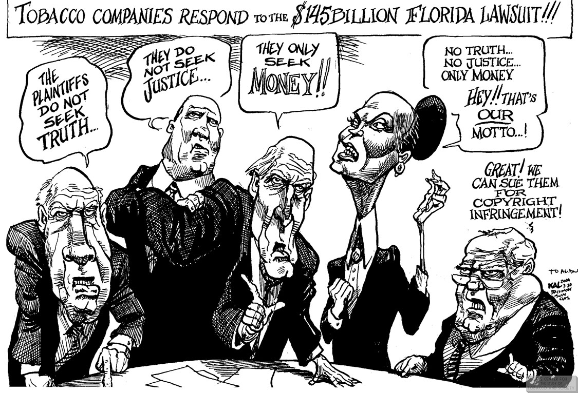 Kal Cartoon Tobacco Companies Respond to FL Lawsuit 1