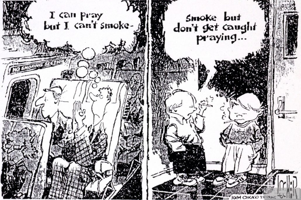 Locher Cartoon Praying Smoking 1