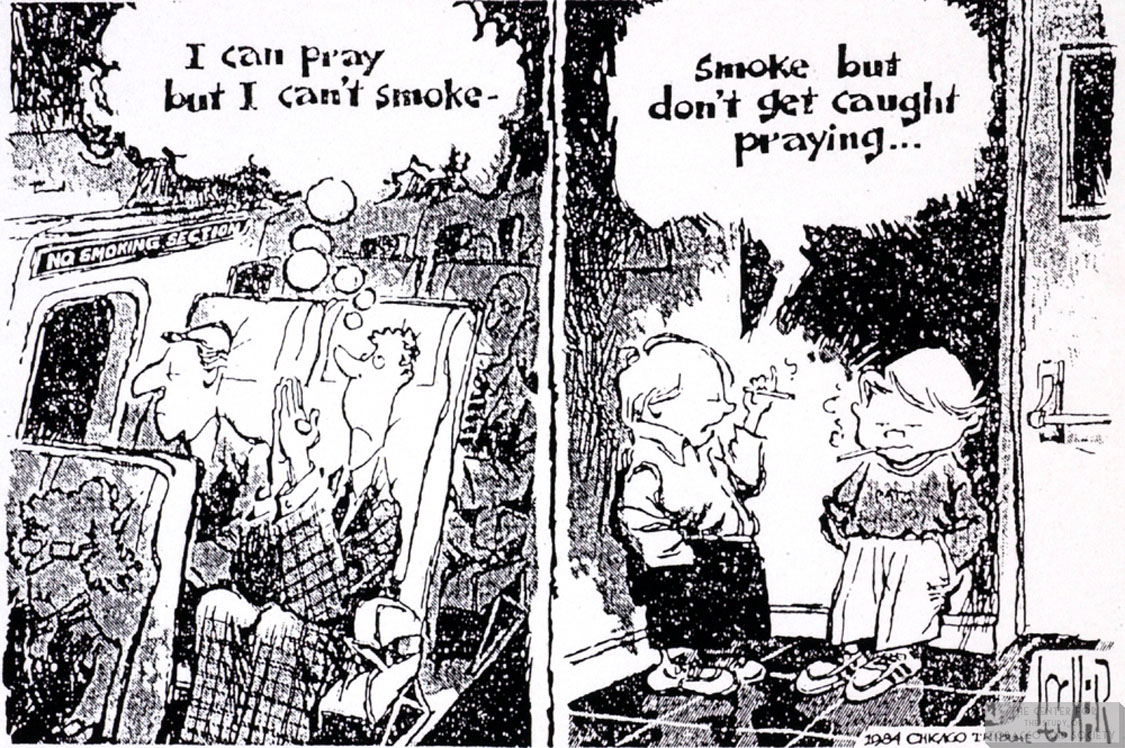Locher Cartoon Praying Smoking 1