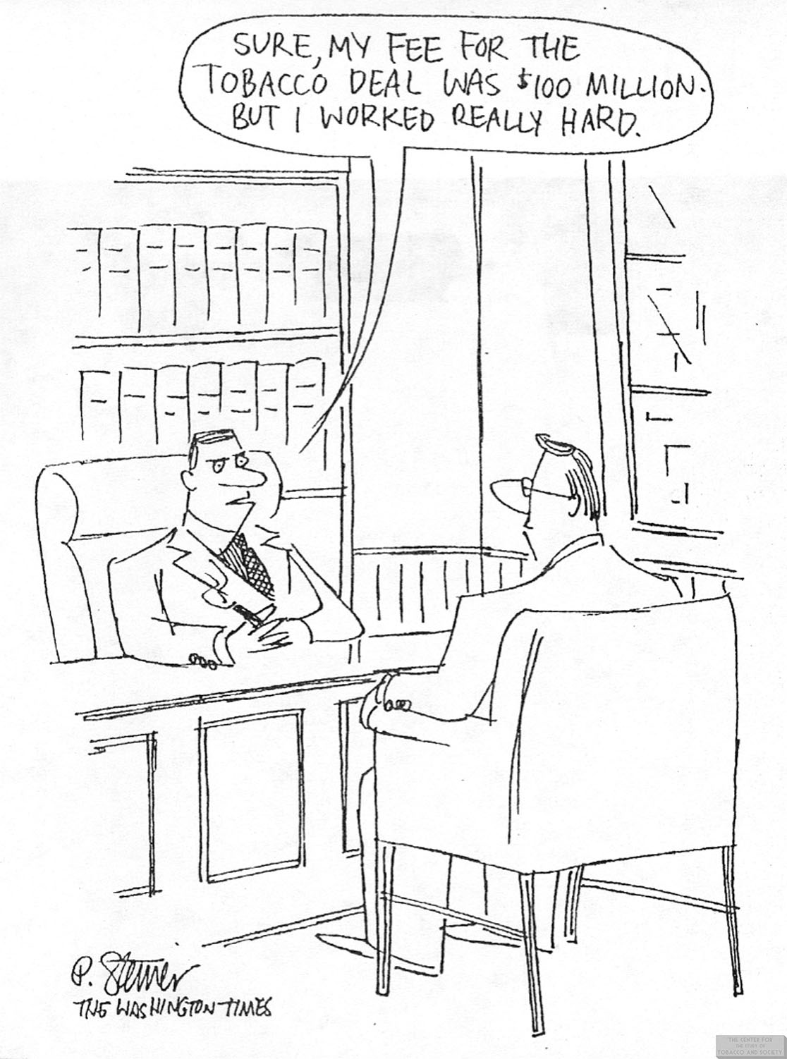 Steiner Cartoon Lawyers Fee for Tobacco Deal 1