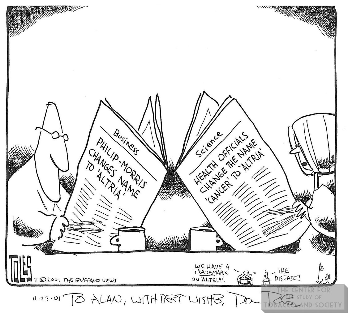 Toles Cartoon PM Changes Name to Altria 1