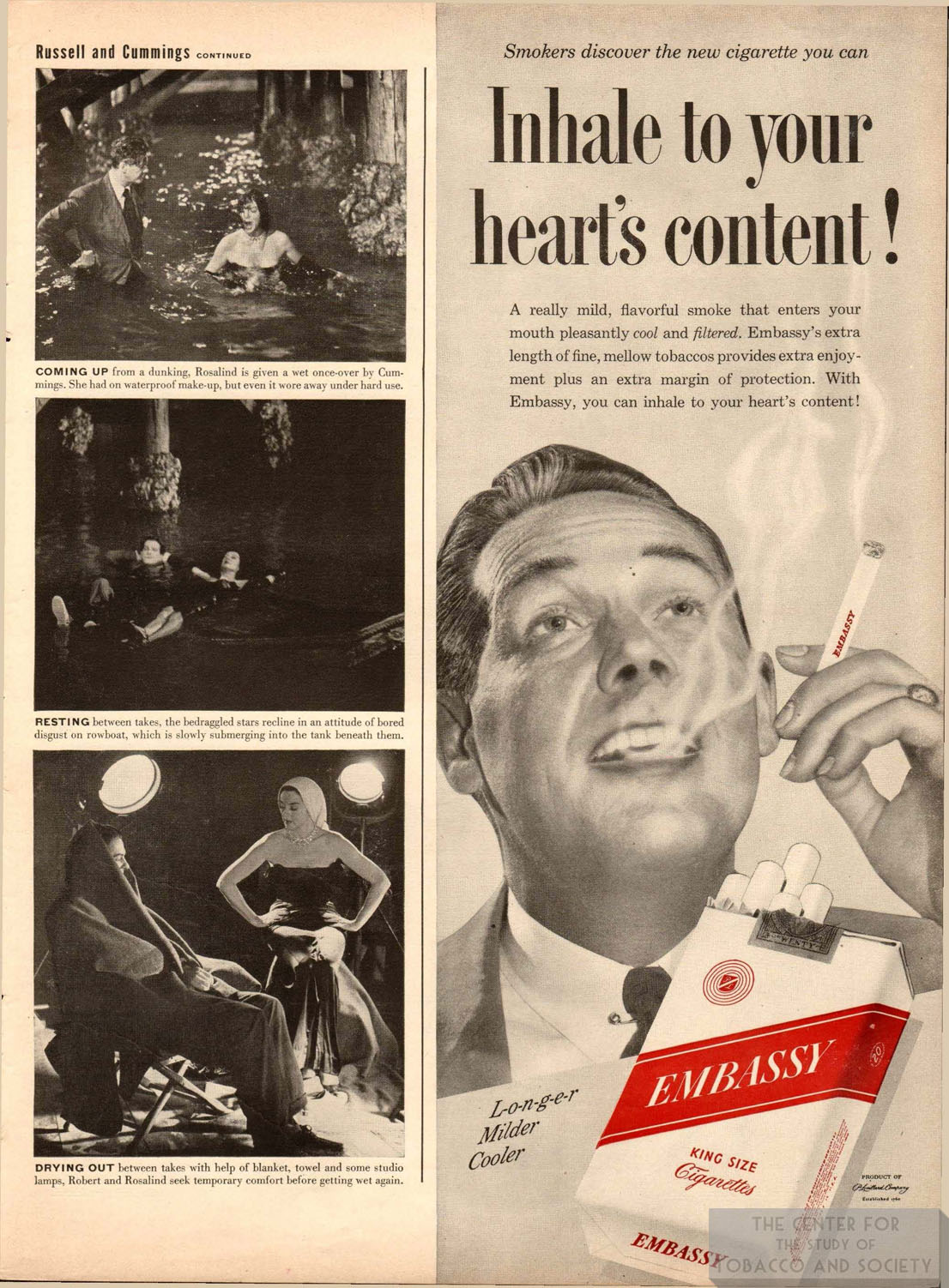 1949 Embassy Ad Inhale to Your Hearts Content