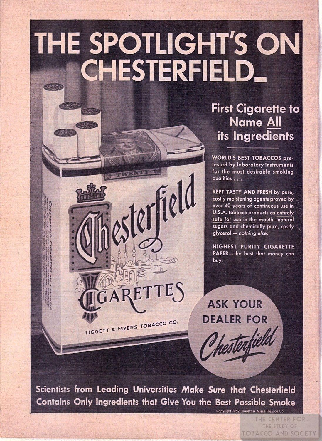 1952 Chesterfield Ad Spotlights On Chesterfield