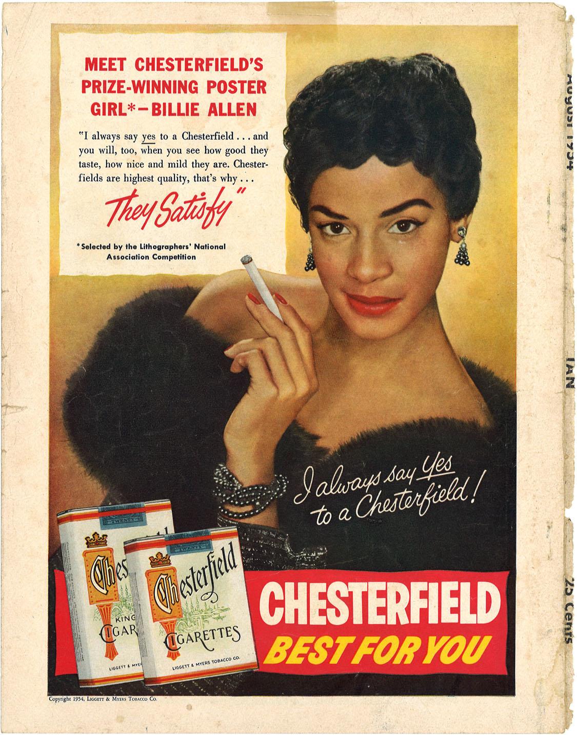1954 08 Tan Magazine Billie Allen for Chesterfield Ad 1