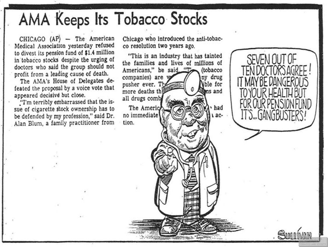1981 Sullivan Cartoon AMA Keeps Its Tobacco Stocks
