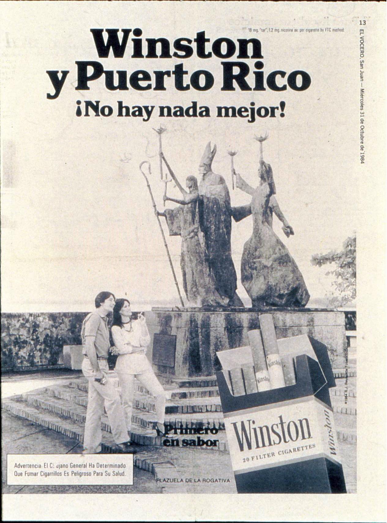 1984 10 31 El Vocero Winston Ad Spanish