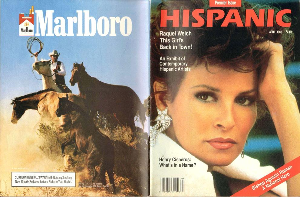 1988 04 Hispanic Magazine Raquel Welch Marlboro Ad 1