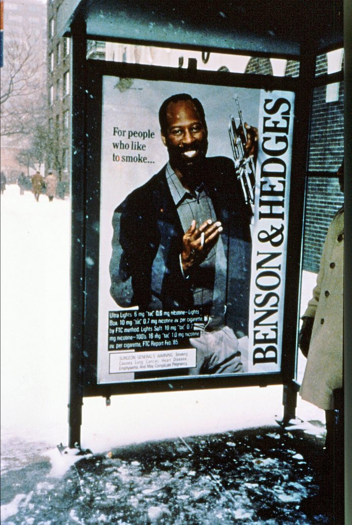 1990 BH Ad at NYC Bus Stop Black Trumpeter
