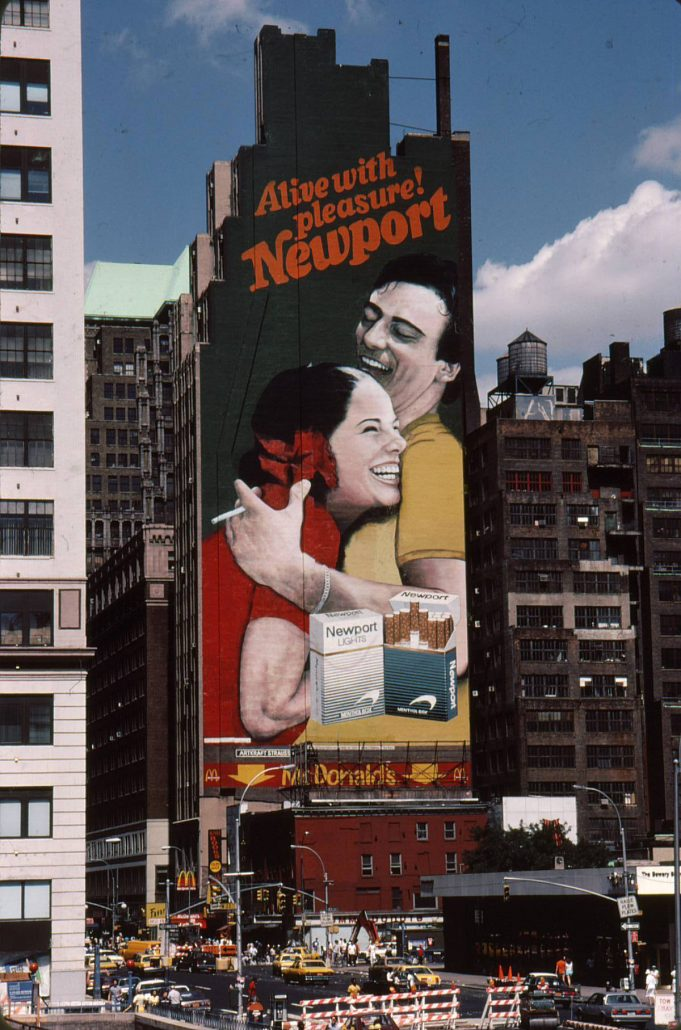 1990 Painted Newport Ad on NYC Building