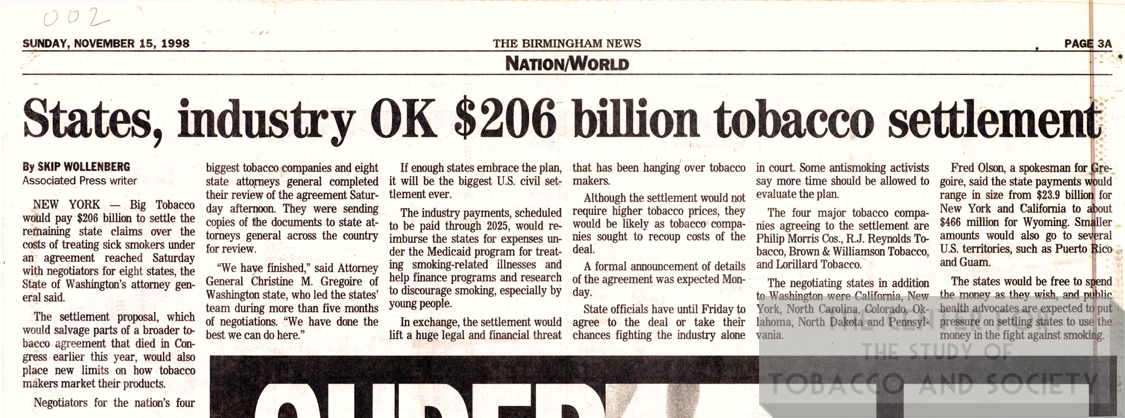 1998 11 15 BM News States Industry OK 206B Tobacco Settlement 1