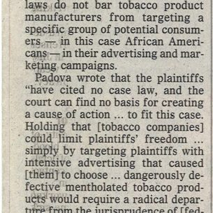 1999 09 24 Phil. Inquirer Novel Tobacco Lawsuit Dismissed 1