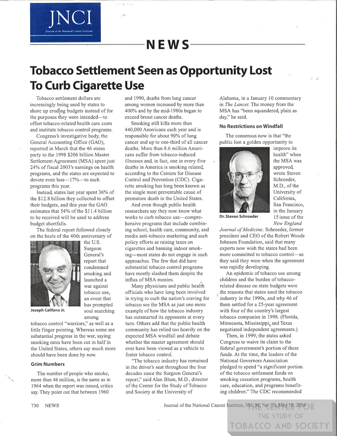 2004 JNCI Tobacco Settlement Seen as Opportunity Lost