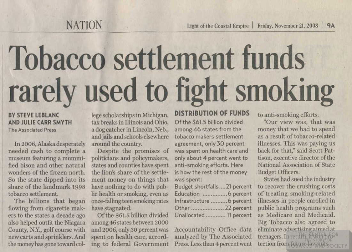 2008 LCE Tobacco Settlement Funds Rarely Used to Fight Smoking 1