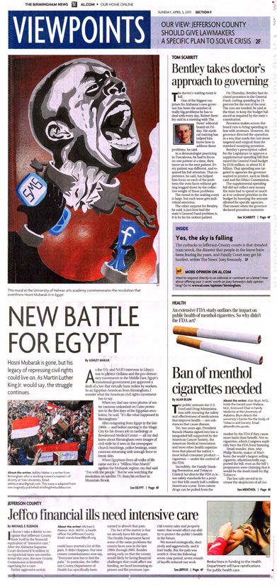 2011 04 03 BM News Ban of Menthol Cigs Needed Pg 1