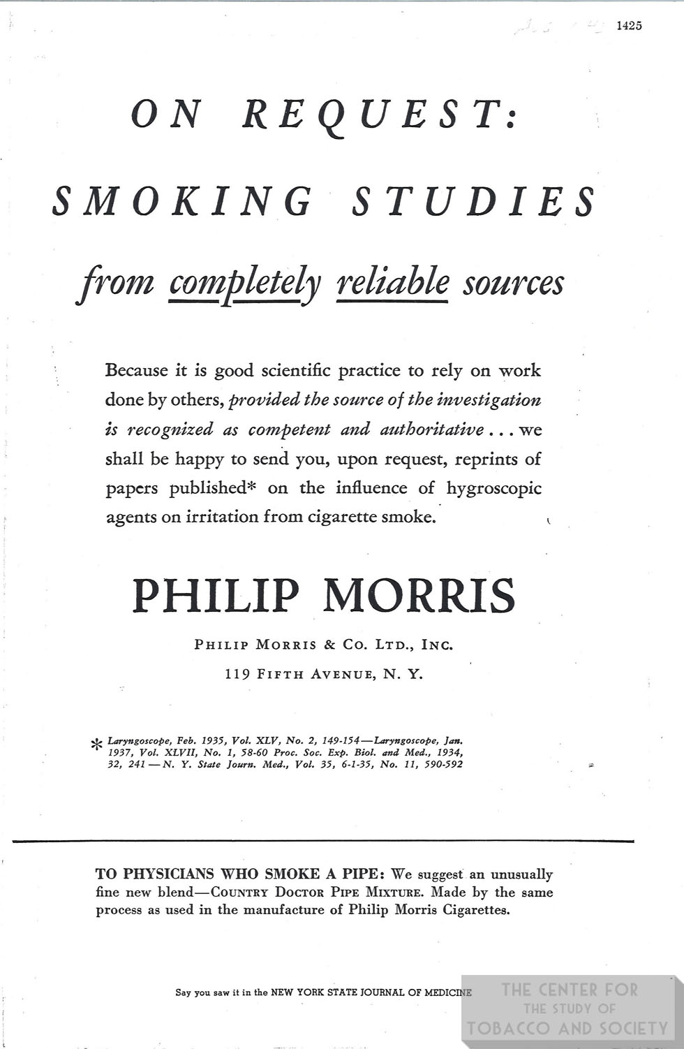 n.d. PM Ad On Request Smoking Studies