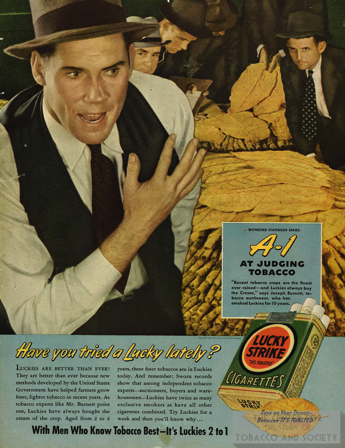 1939 Lucky Strike Ad featuring tobacco auctioneer Have you tried a lucky lately
