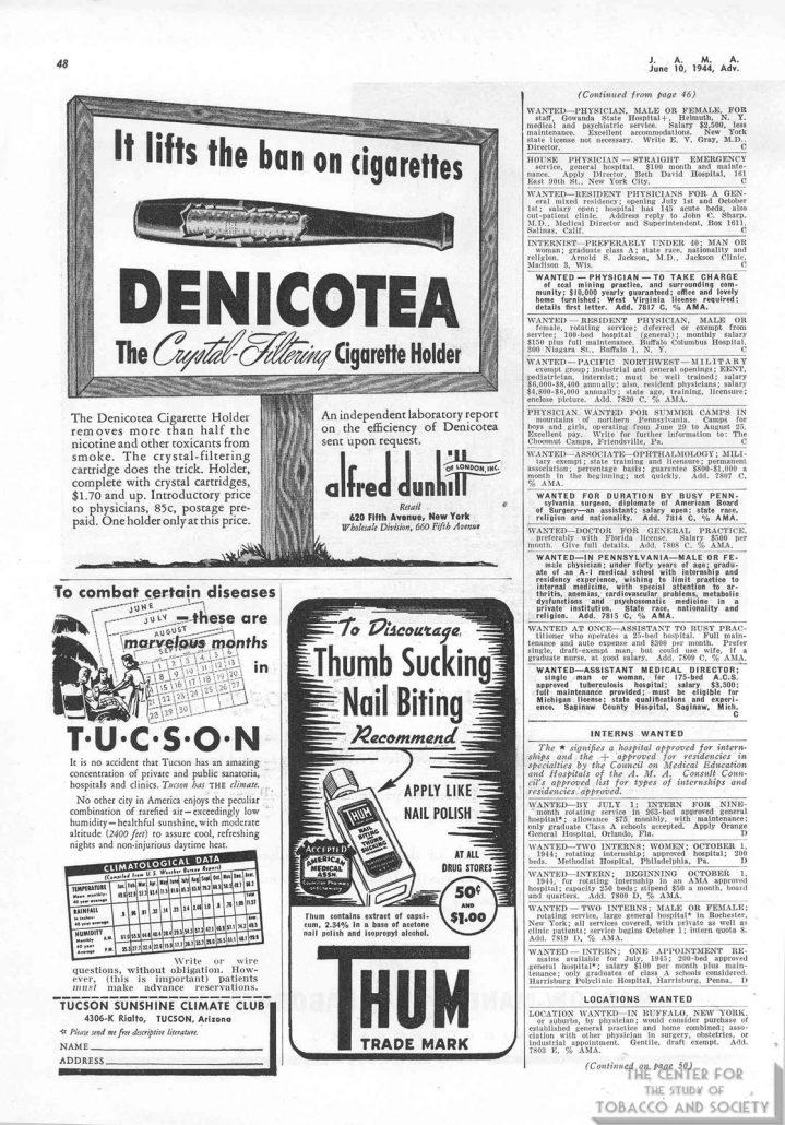 1944 06 10 JAMA Denicotea Ad