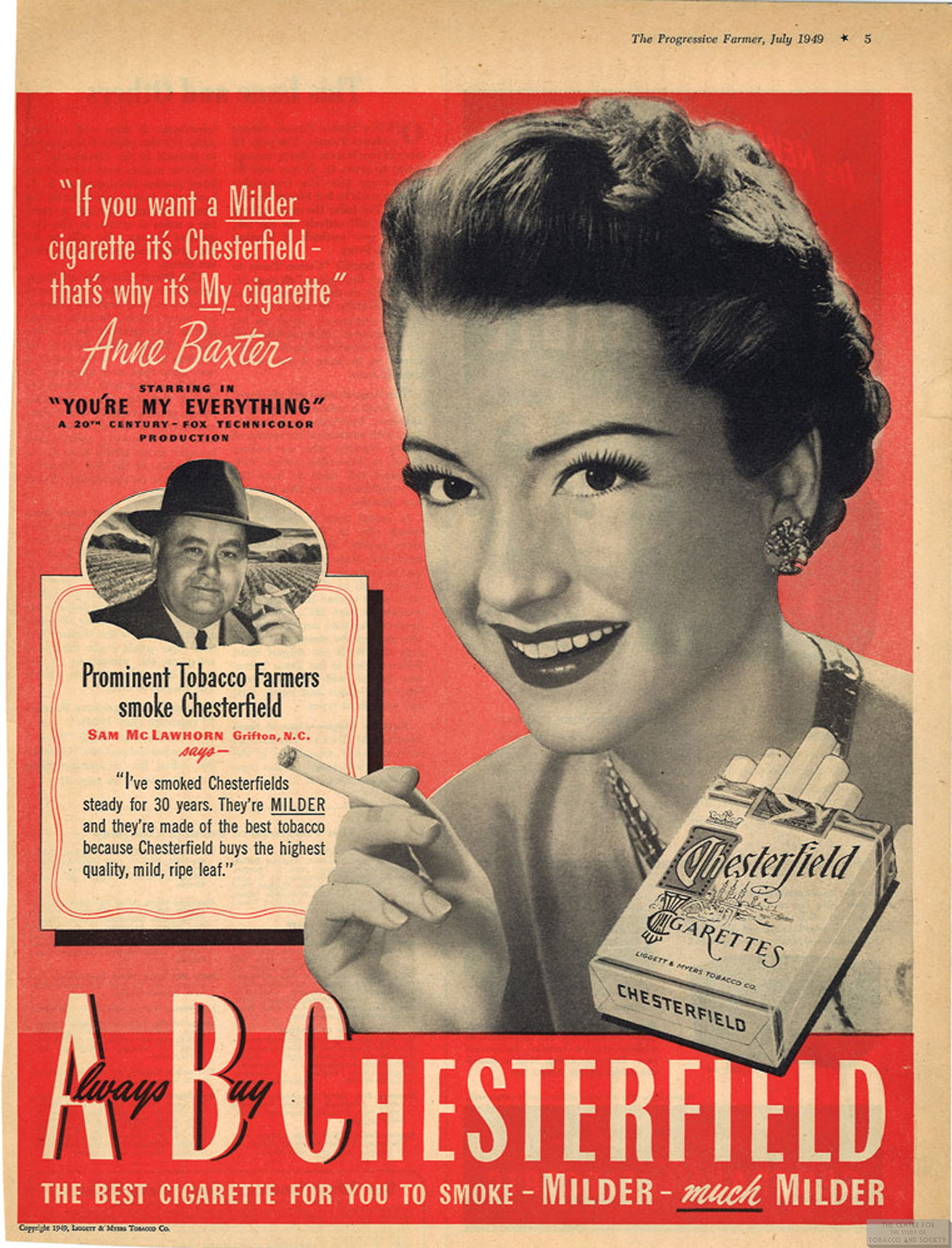 1949 07 The Progressive Farmer Anne Baxter for Chesterfield