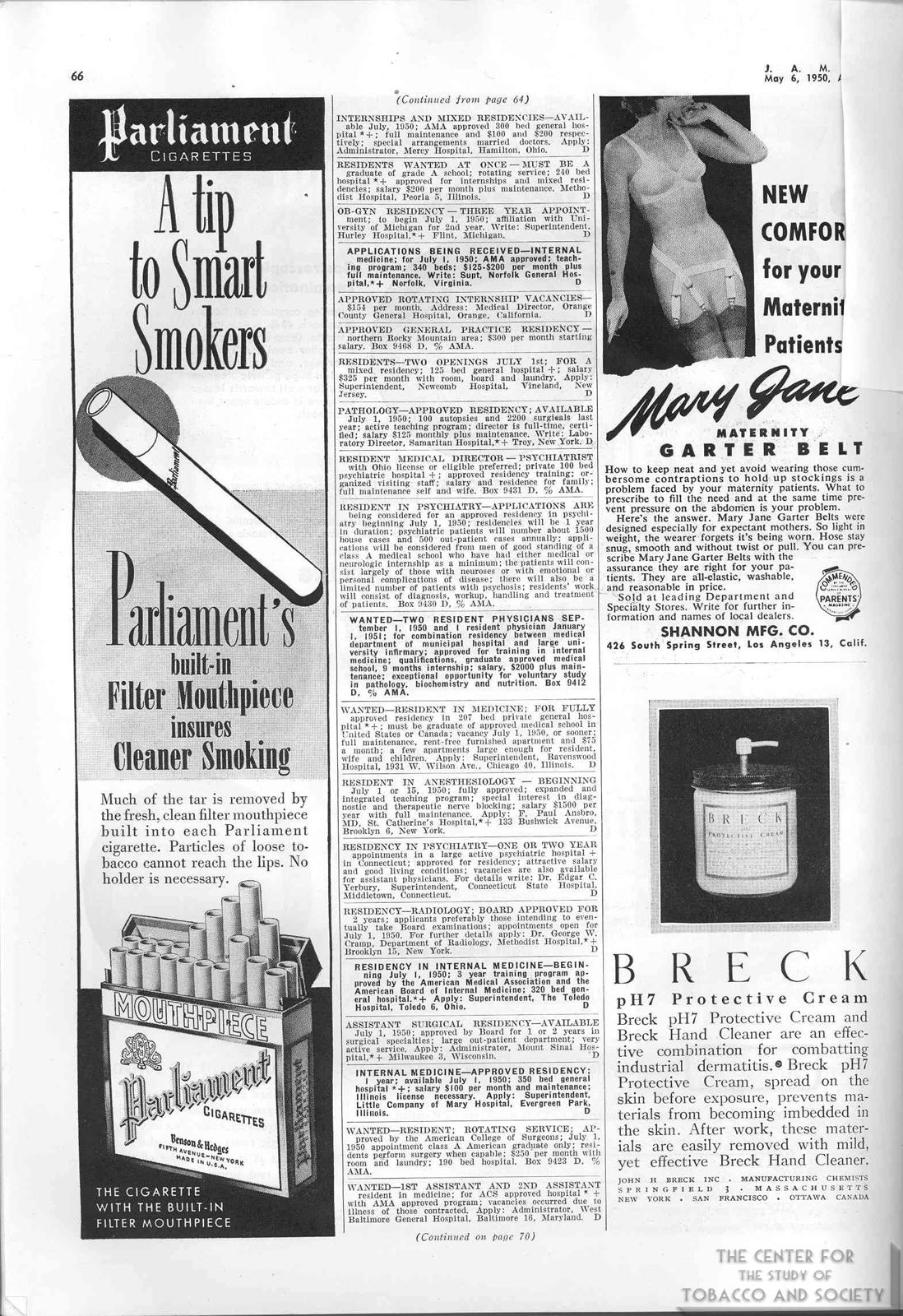 1950 05 06 JAMA V. 143 No 1 Parliament Ad