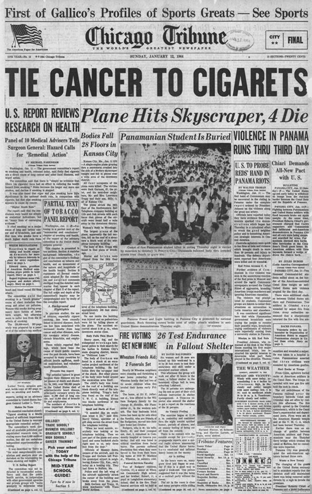 1964 01 12 Chicago Tribune Tie Cancer to Cigs