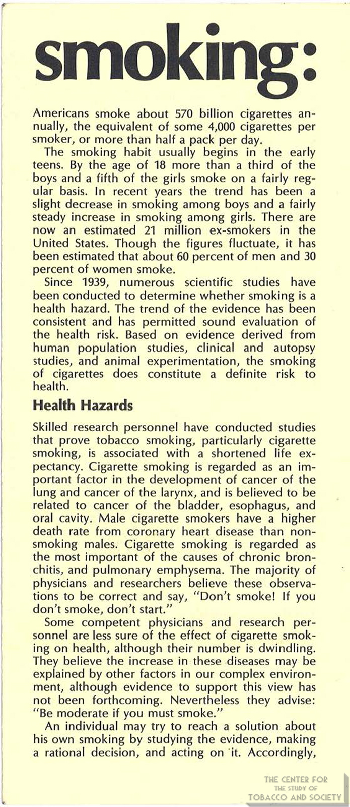 1971 AMA Brochure Smoking Facts You Should Know Page 2