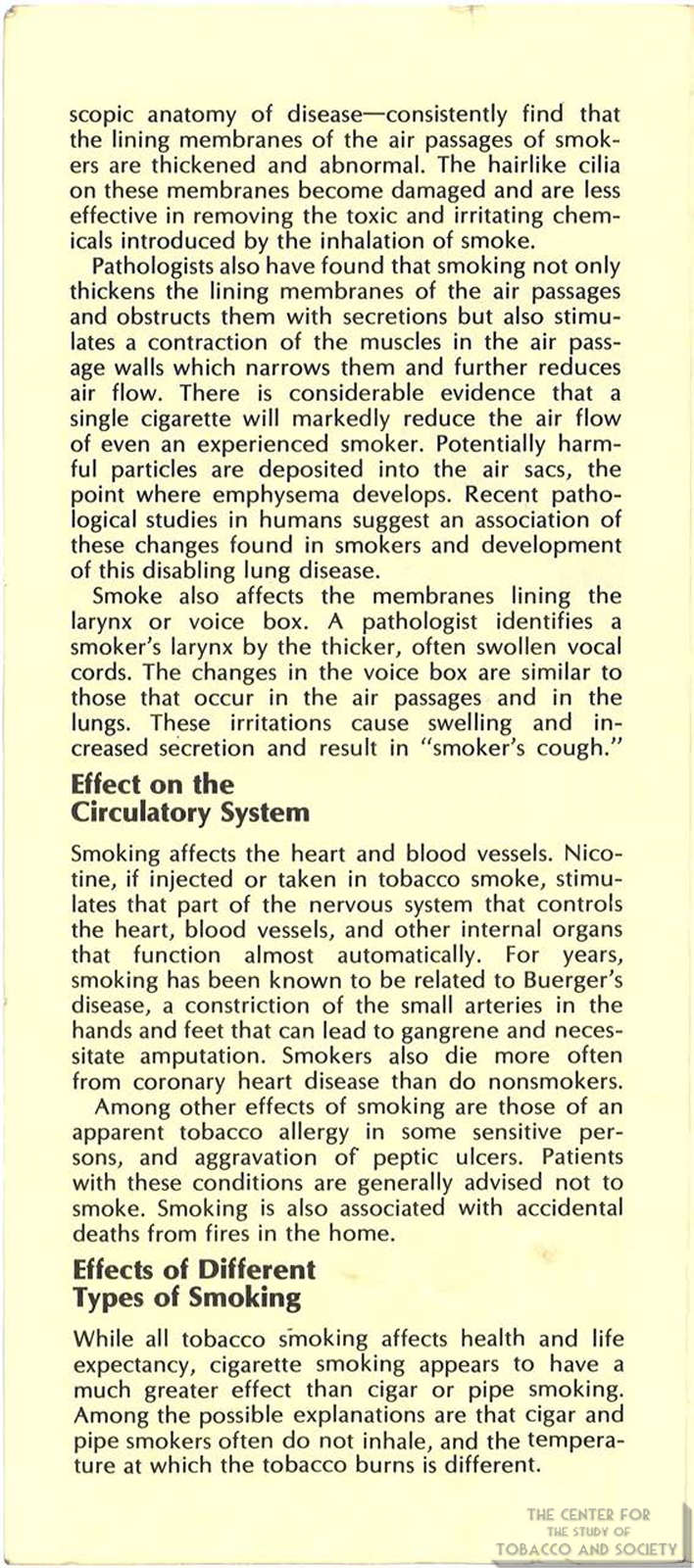 1971 AMA Brochure Smoking Facts You Should Know Page 4