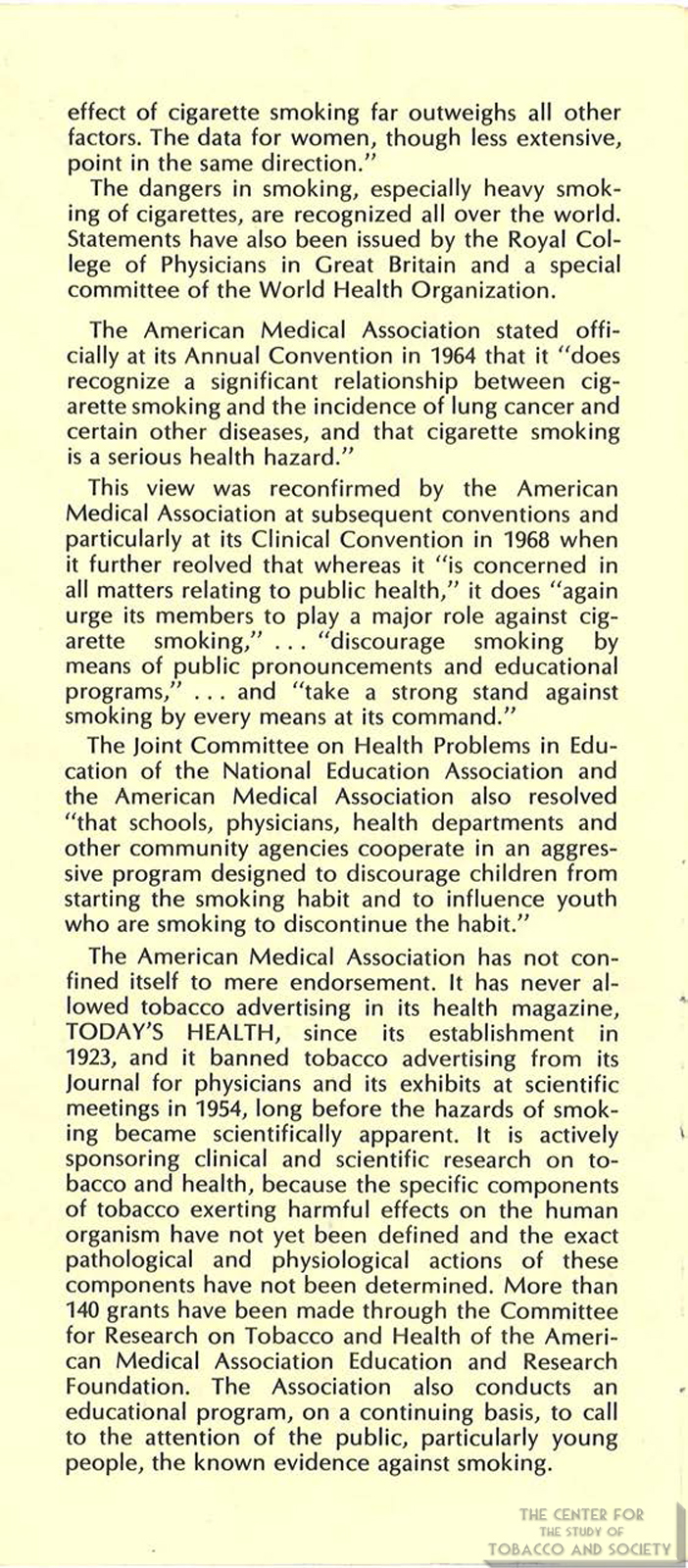 1971 AMA Brochure Smoking Facts You Should Know Page 6
