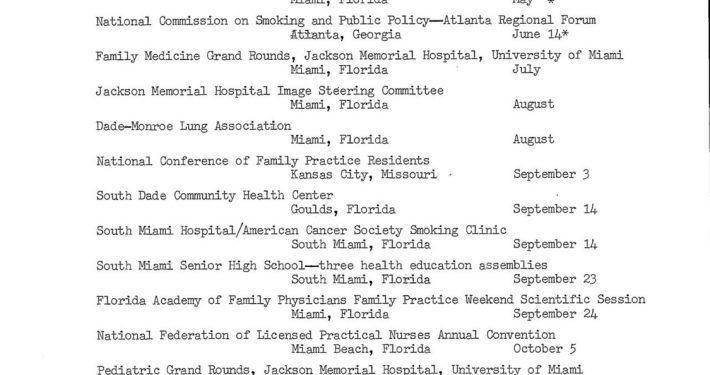 1976 1977 List of AB Presentations on DOC