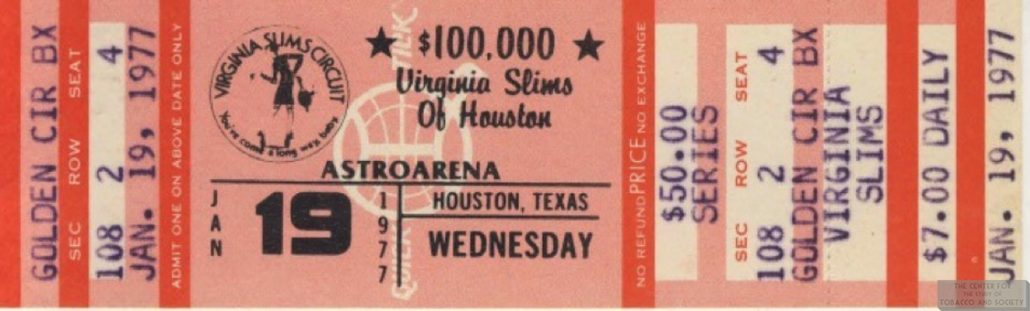 1977 01 19 Virginia Slims of Houston Ticket