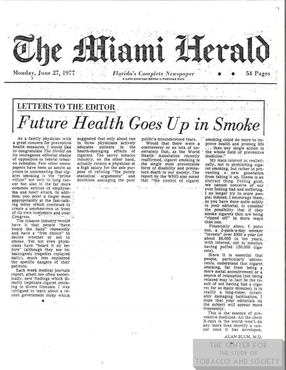 1977 06 27 Miami Herald Future Health Goes Up in Smoke