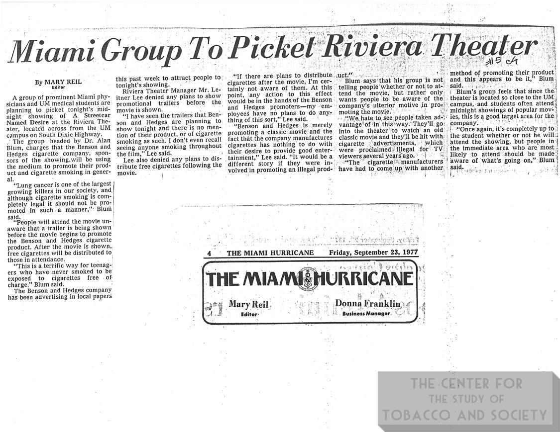 1977 09 23 Miami Hurricane Miami Group to Picket Riviera Theater