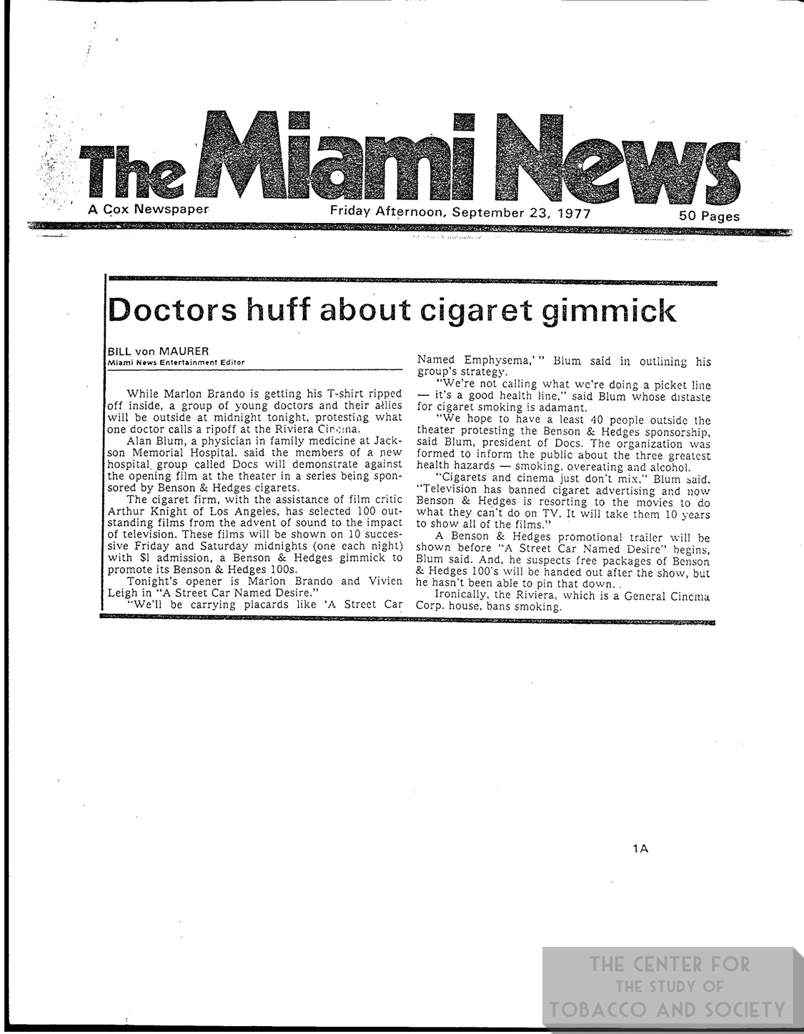 1977 09 23 Miami News Drs Huff About Cig Gimmick