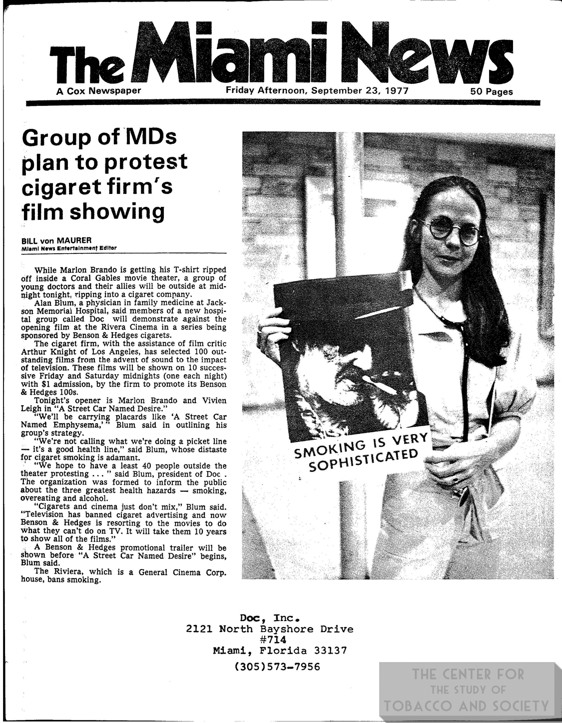 1977 09 23 Miami News MDs Plan to Protest Cig Firms Film Showing