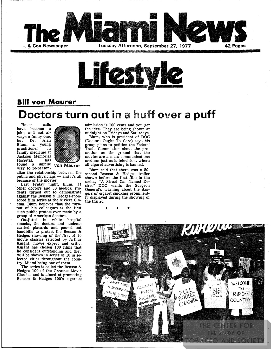 1977 09 27 Miami News Drs Turn Out in a Huff