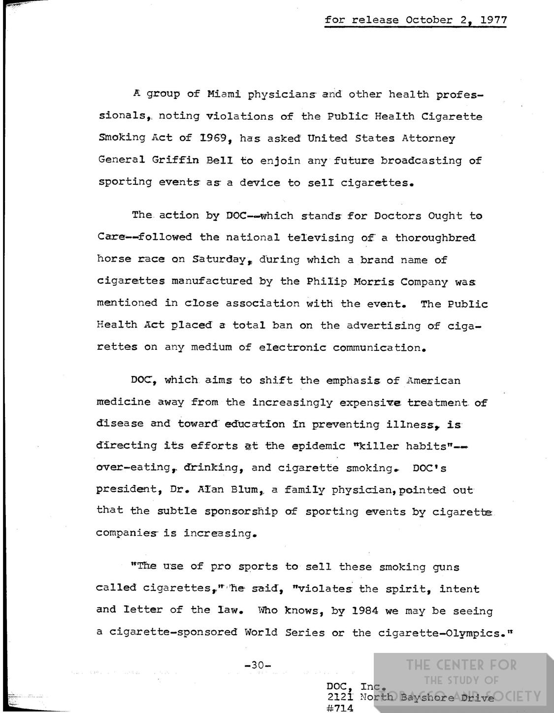 1977 10 02 DOC Press Release Marlboro Cup Televising