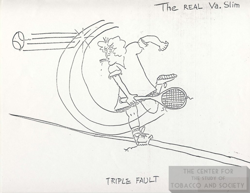 1977 Drawing of Smoking Tennis Player VA Slim Triple Fault wm