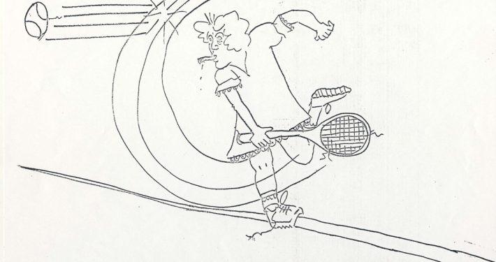 1977 Drawing of Smoking Tennis Player VA Slim Triple Fault wm