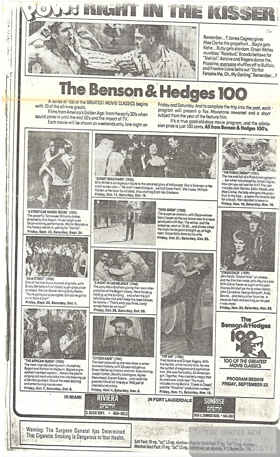 1977 Miami Herald BH Film Festival Ad