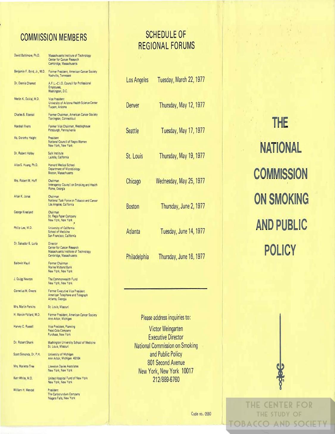1977 Natl. Commission on Smoking Regional Forum Brochure