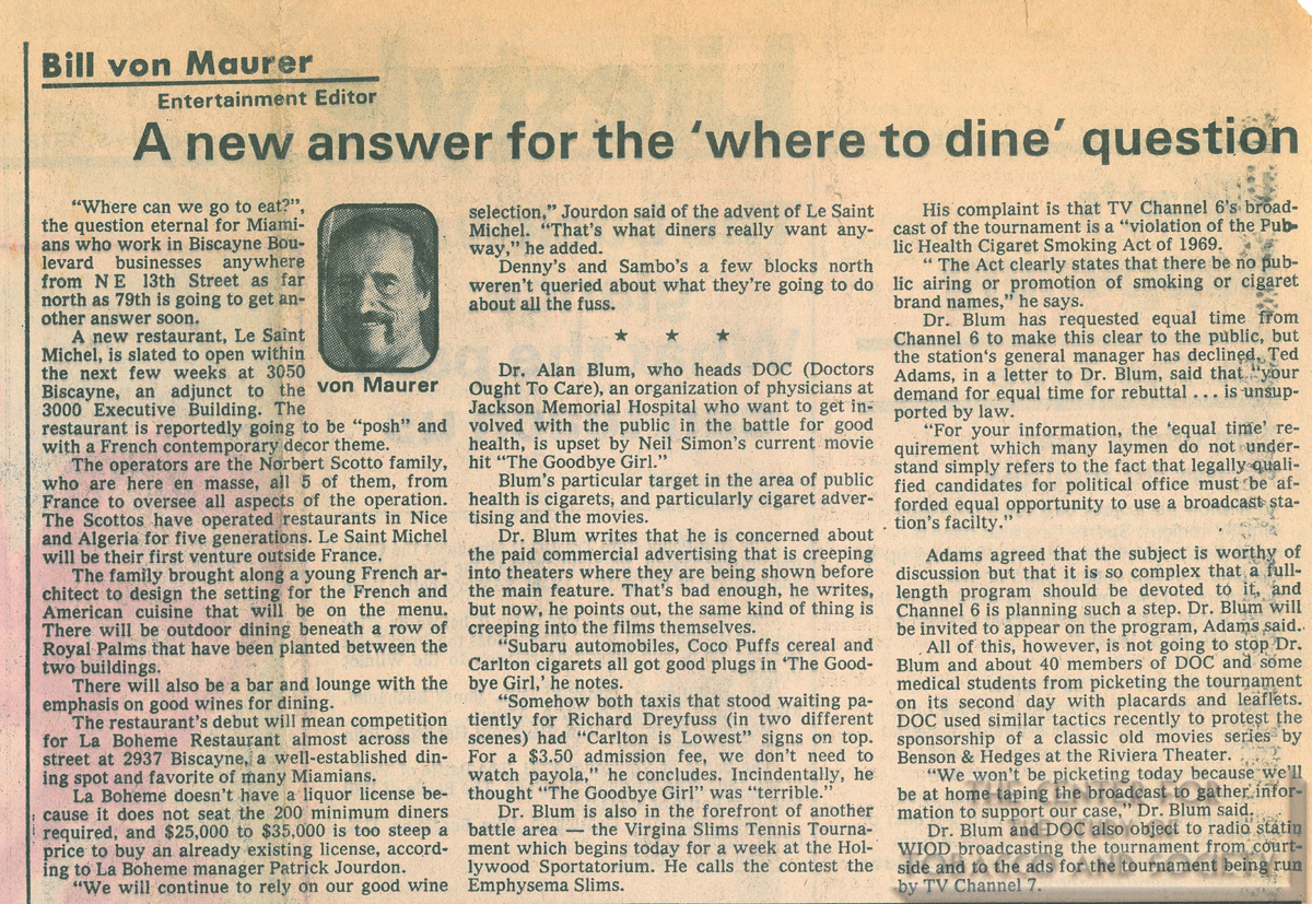 1978 01 09 Miami News New Answer for the Where to Dine Question color