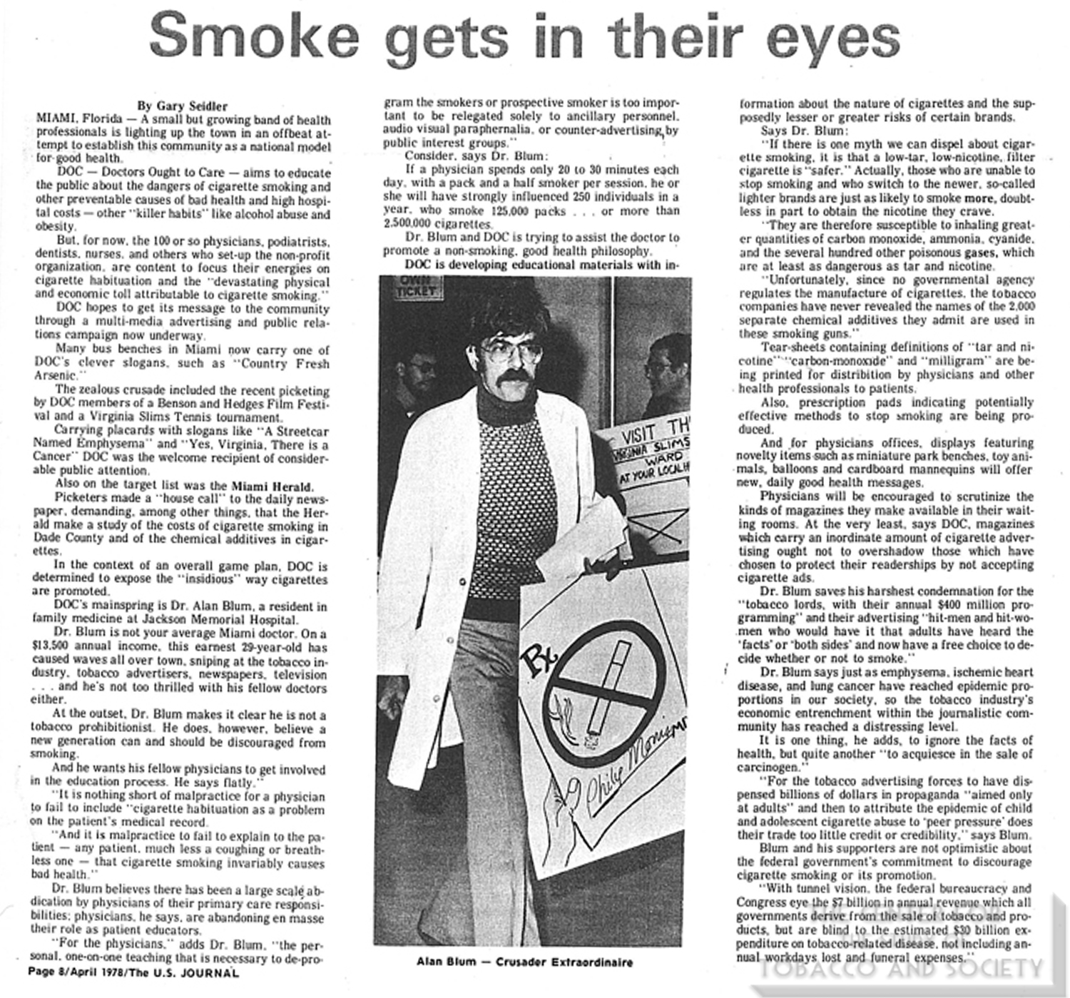1978 01 10 US Journal of Drug Alcohol Dependence Smoke Gets in Their Eyes